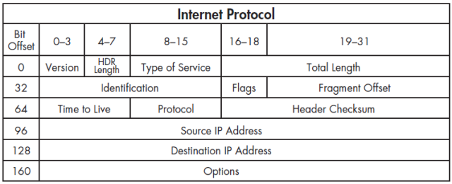 Figure 3-1 Typical IPv4 header structure