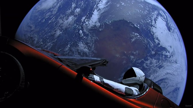 Tesla Orbiting Earth